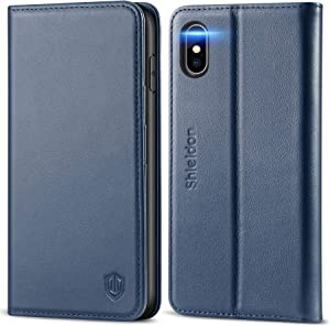 """SHIELDON iPhone Xs Max Case, iPhone Xs Max Wallet Case, Genuine Leather Folio Magnetic Cover [Auto Sleep/Wake] [RFID Blocking] Card Slots Compatible with iPhone Xs Max (6.5"""" 2018 Release) - Dark Blue"""