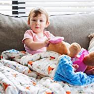 """Blissly Kids Weighted Blanket, 7lbs 41""""x60"""", Calming Cooling Organic Cotton/Warm Minky, Premium Glass Beads, for Children Between 70-90 lbs"""