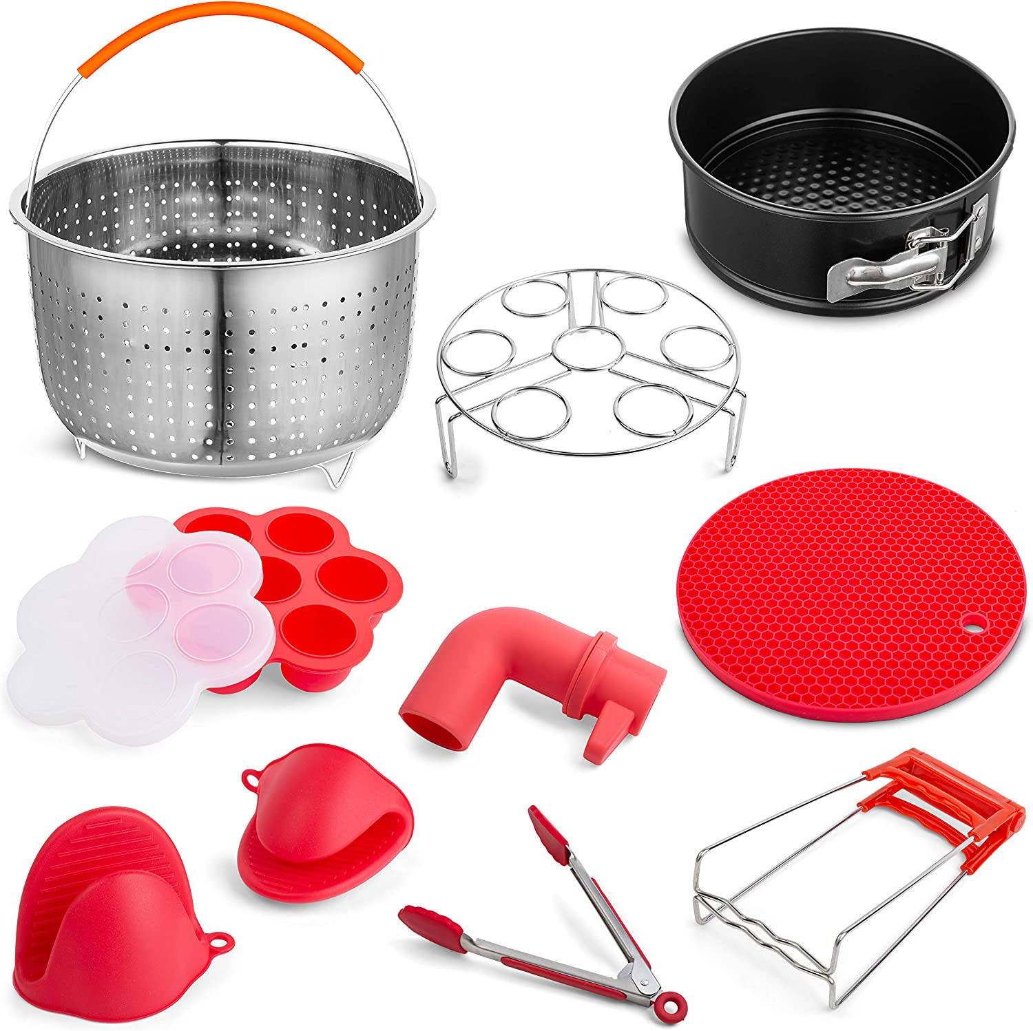 Instant Pot Accessories Set 9 Pcs — Stainless Steel Steamer Basket, Silicone Egg Molds, Egg Rack and More — Compatible With 5, 6, 8 QT Instant Pot