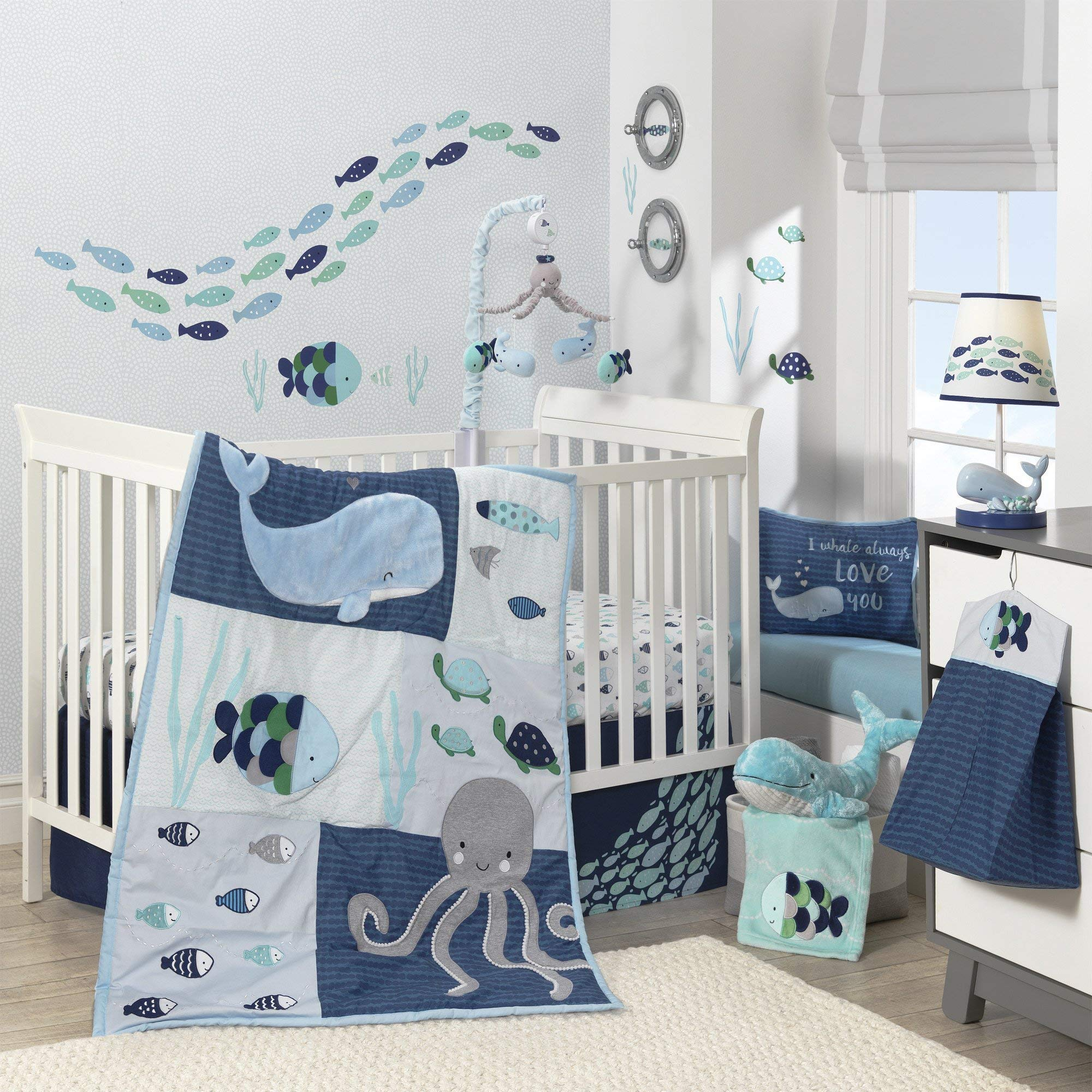 Lambs & Ivy Oceania 6-Piece Baby Crib Bedding Set - Blue Ocean, Nautical, Aquatic, Whale, Octopus Theme by Lambs & Ivy