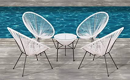 Surprising Acapulco Chair All Weather Wicker Indoor Outdoor Round Lounge Chair Set By Modern Century Outdoor Cm 0114 5 Piece White Camellatalisay Diy Chair Ideas Camellatalisaycom