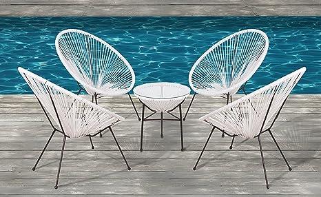 Cool Acapulco Chair All Weather Wicker Indoor Outdoor Round Lounge Chair Set By Modern Century Outdoor Cm 0114 5 Piece White Spiritservingveterans Wood Chair Design Ideas Spiritservingveteransorg