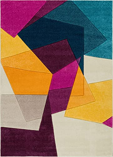 Well Woven Strata Squares Blue Purple Fuchsia Yellow Orange Modern Geometric Hand Carved 8×10 7'10″ x 9'10″ Area Rug Easy to Clean Stain Fade Resistant Thick Soft Plush
