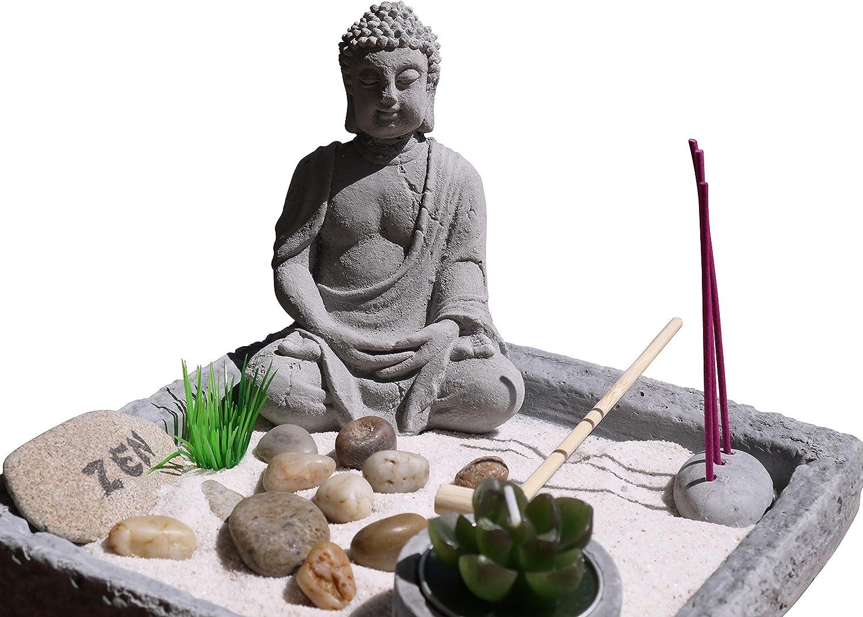 Großer Zen Garten Buddha Teelicht Set Budda Figur Feng Shui Lotussitz  Deko NEU