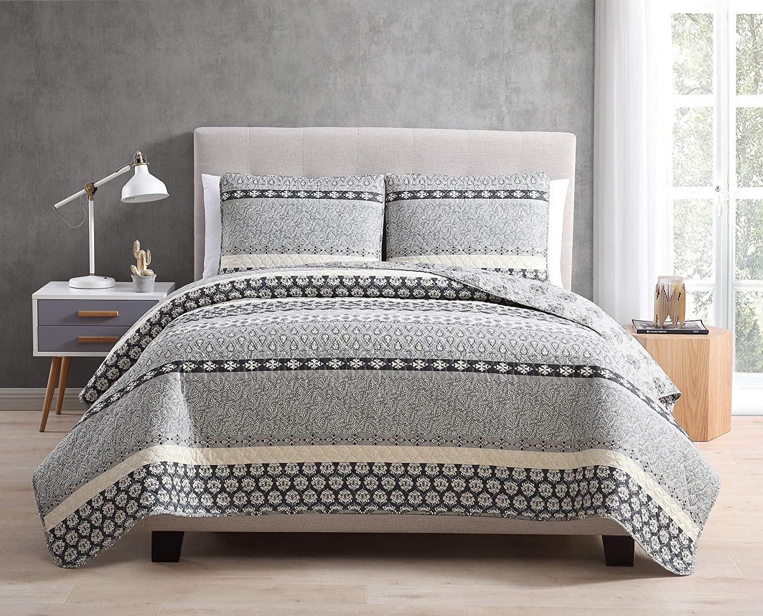 Morgan Home Printed 3 Piece Reversible Quilt Set With Shams All Season Comfort Available In Colors Sizes Grey Full Queen Kitchen Dining