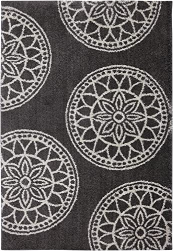 Mohawk Home Huxley Gray Medallions Woven Rug, 8 x10 , Cocoa