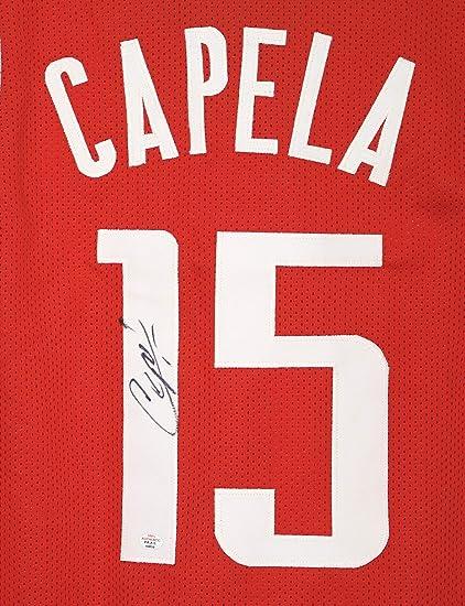 22f7e2bebfab Clint Capela Houston Rockets Signed Autographed Red  15 Custom Jersey PAAS  COA