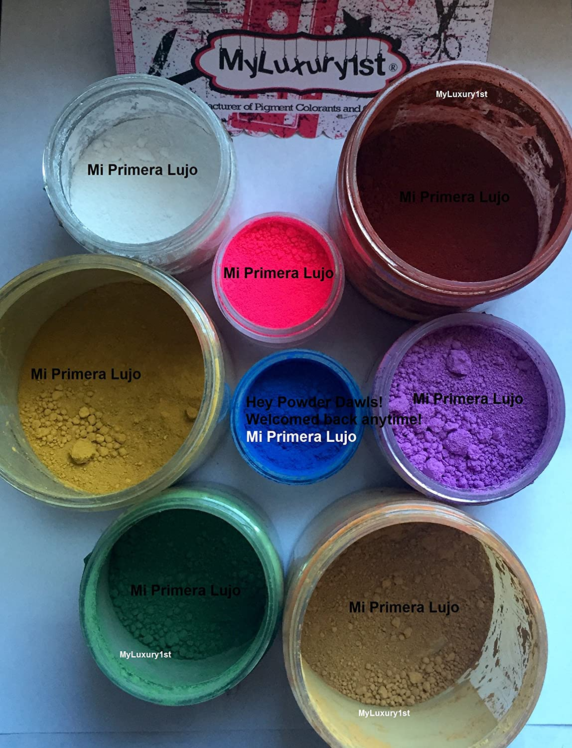 8 Cosmetic Grade Matte Colorant for DIY Mineral Makeup & Soap Makings 3g Neon Pink Blue Orchid Ultramarine Yellow 10g Golden Oxide Red Chromium 5 gram Green White MyLuxury1st Den Coloration