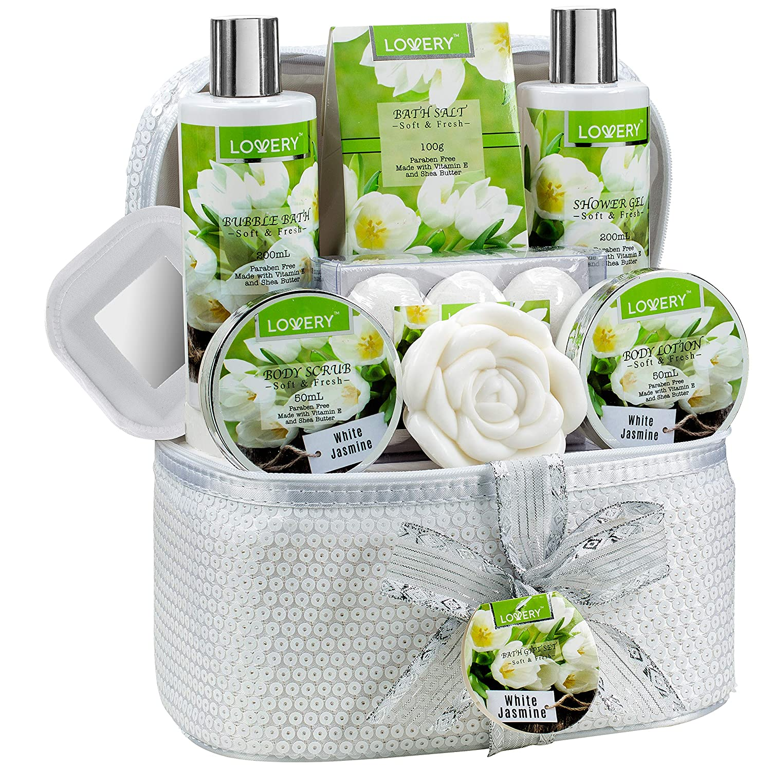 Bath and Body Gift Basket For Women Men 14 Piece Set in White Jasmine Scent – Home Spa Set with 6 Bath Bombs, Body Lotion, Rose Soaps, Hand Crafted White Sequined Cosmetics Bag and More
