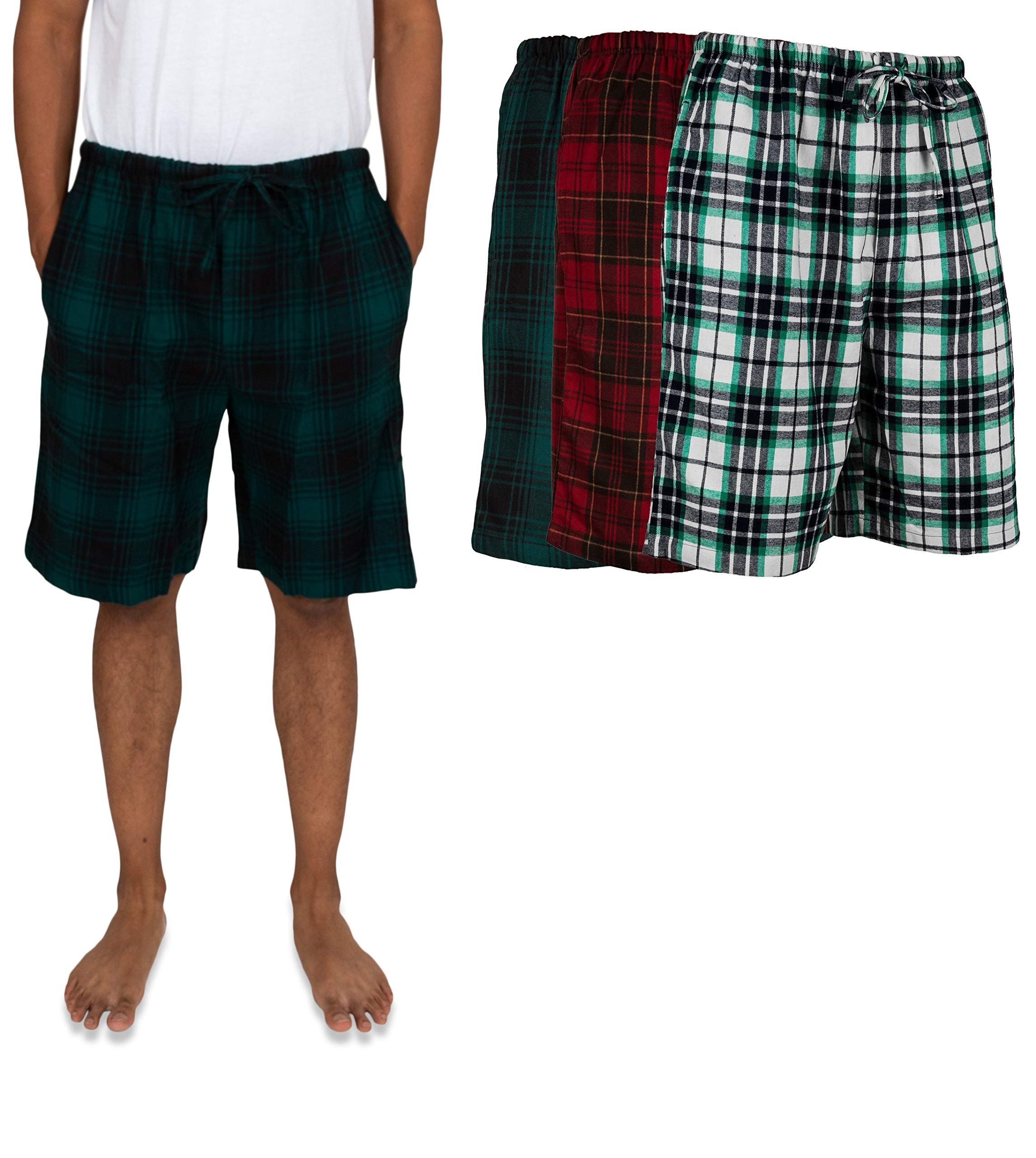 Andrew Scott Men's 3 Pack Light Weight Cotton Flannel Soft Fleece Brush Woven Pajama/Lounge Sleep Shorts (3 Pack - Assorted Classics Plaids, Large)