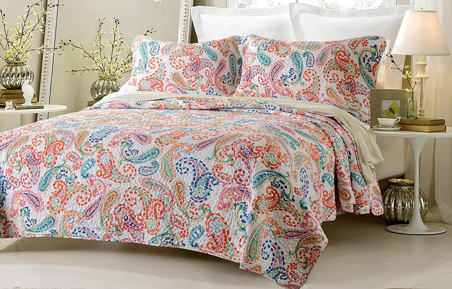 3pc Paisley Multi Color Printed Quilt Set