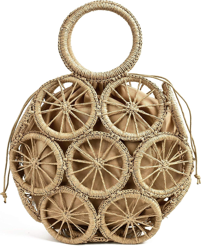 QFWN Bolsas de Playa de Paja for Las Mujeres del Verano de la Rota Bolsa Hecha a Mano en Telar Hueco de Playa del Bolso (Color : Circle Brown Lining) Circle Beige Lining