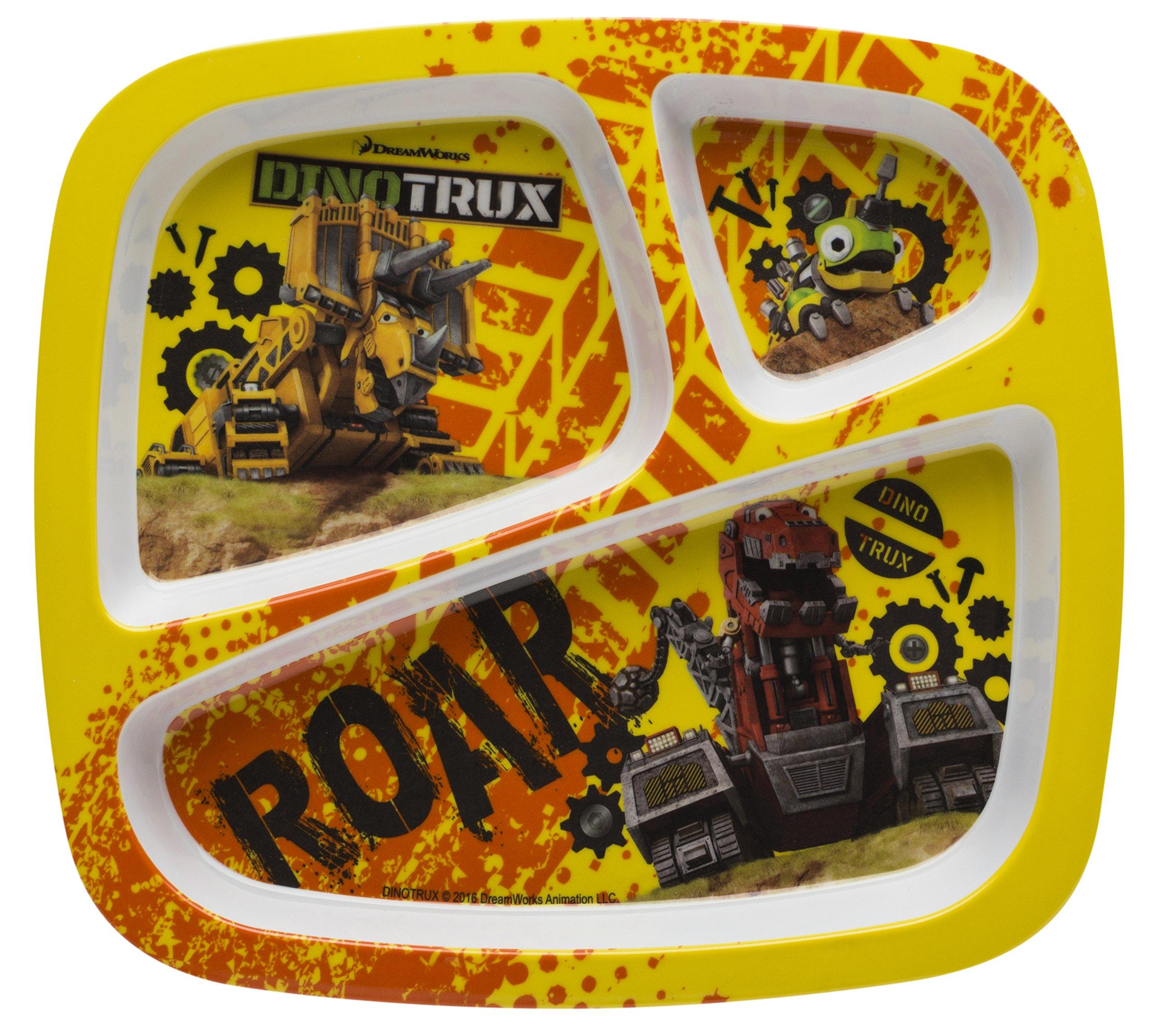 Zak Designs Dinotrux 3-section Kids Plate, Dozer, Revvit & Ty