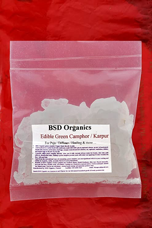 BSD Organics Edible Green Camphor/Karpur/Karpooram for  Puja/Diffuser/Healing and More - 100 G
