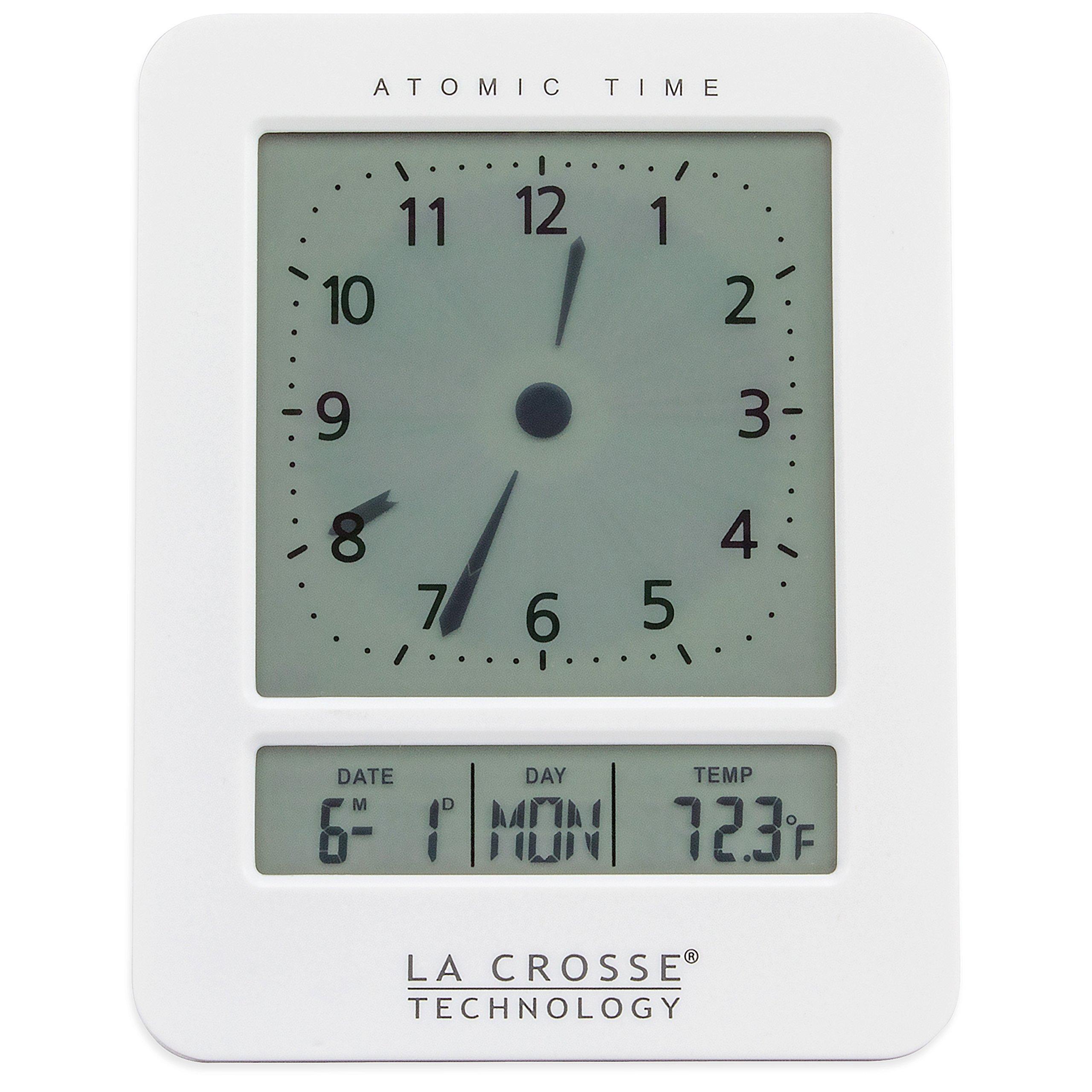 La Crosse Technology 617-1392W Atomic Digital Analog-Style Alarm Clock, White