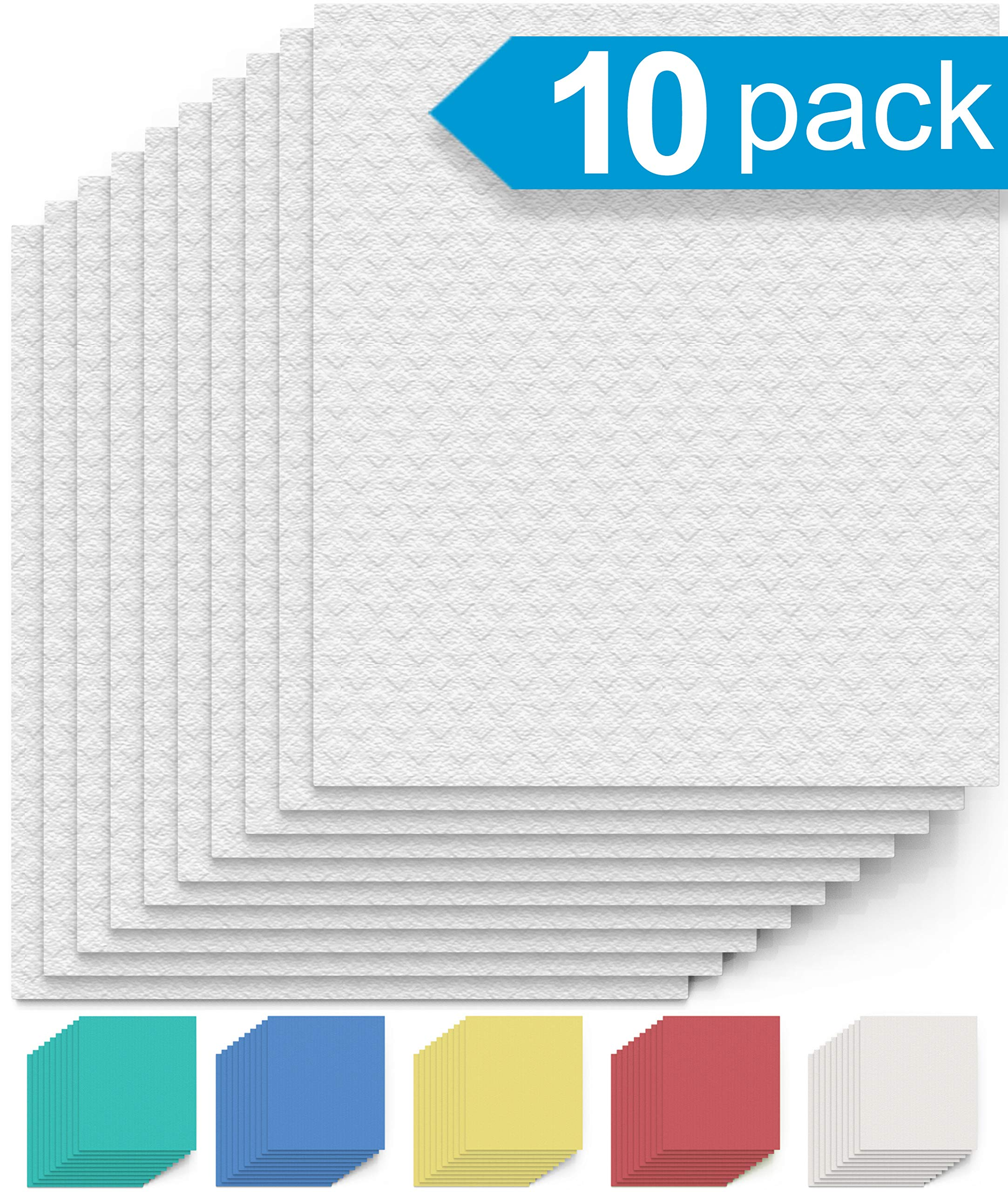 Swedish Dishcloth Cellulose Sponge Cloths – Bulk 10 Pack of Eco-Friendly No Odor Reusable Cleaning Cloths for Kitchen – Absorbent Dish Cloth Hand Towel (10 Dishcloths – White)