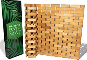 Aqua Glow Bamboo Bath Mat | Upgraded Max Grip Silicone Anti Slip Pads | Roll Up Wooden Bath Mats | Boho Bamboo Decor Shower Mats for Shower, Spa