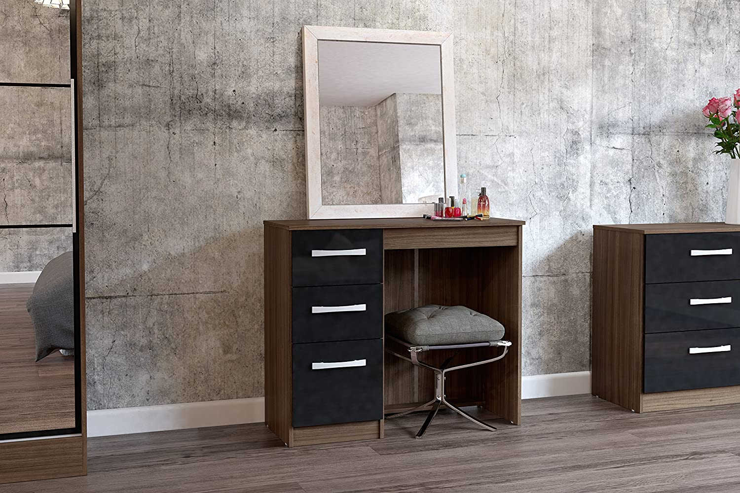 Birlea Lynx Drawer Dressing TableDesk HighGloss Walnut And - Black gloss dressing table