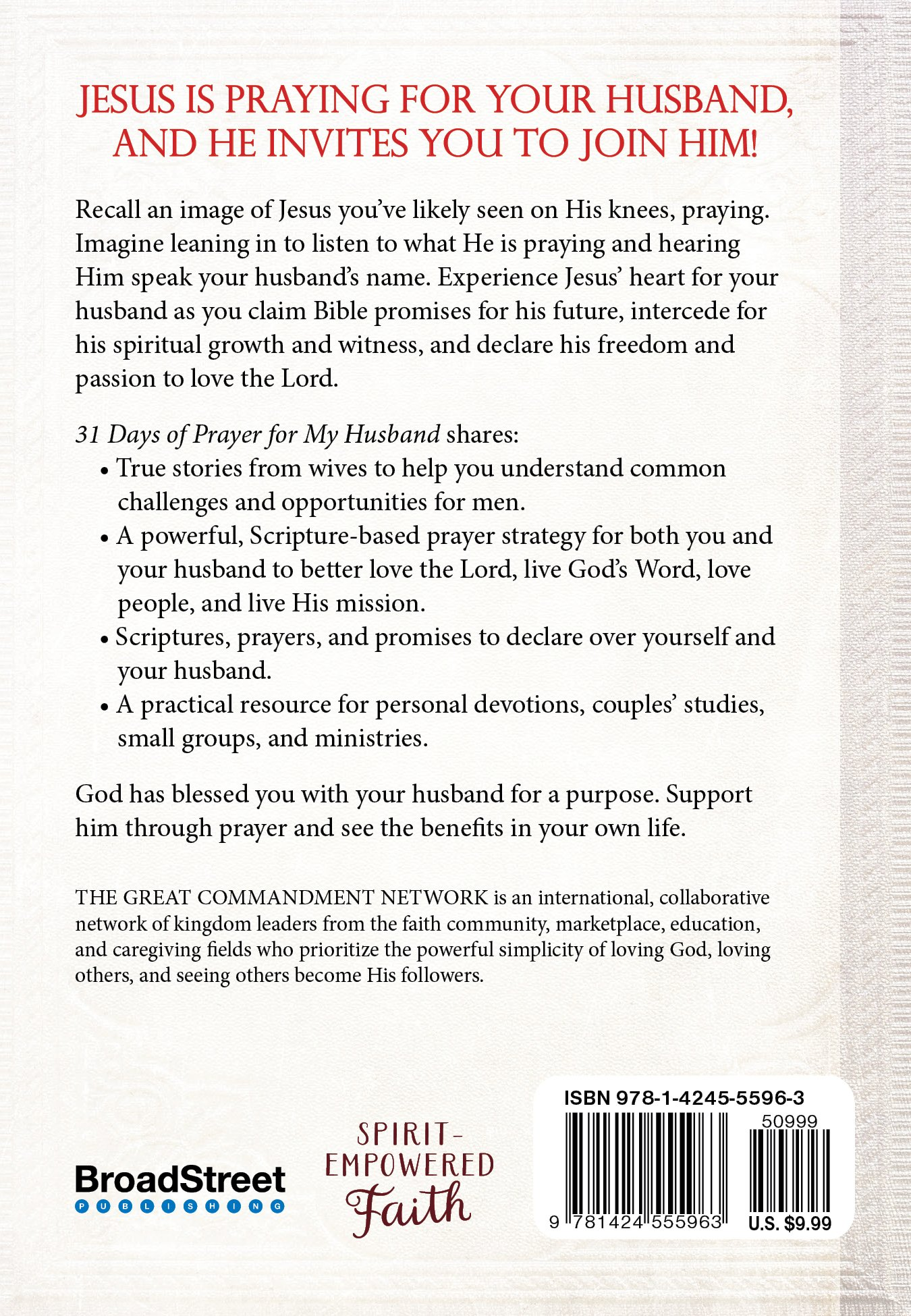 31 Days of Prayer for my Husband: The Great Commandment Network:  9781424555963: Amazon.com: Books