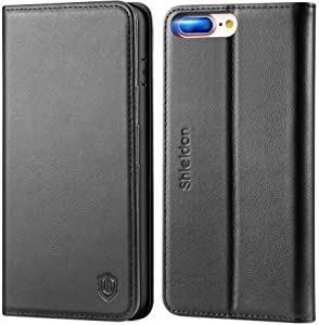 SHIELDON Genuine Leather iPhone 8 Plus Wallet Case Book Flip Cover and [Credit Card Slot] Magnetic Closure Compatible with iPhone 8 Plus / 7 Plus - Black
