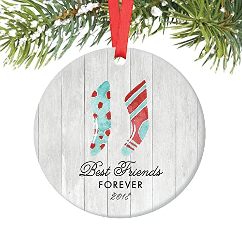 best friends forever christmas ornament 2018 farmhouse woodsy friendship bff bestie ladies women xmas present - Best Friend Christmas Ornaments