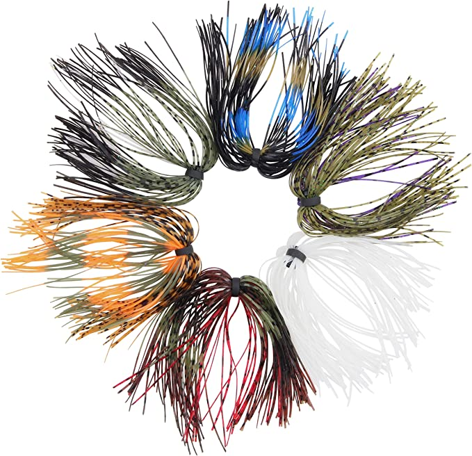10 Bundles 50 Strands Silicone Skirts Fishing Tackle Buzz Spinner Jig Bass WL005
