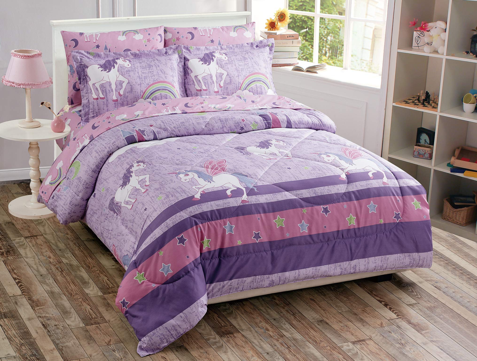 Luxury Home Collection 5 Piece Twin Size Comforter Set for Girls/Teens Unicorn Castle Rainbow Clouds Moon Shining Stars Lavender Pink Blue Yellow (Twin Comforter)