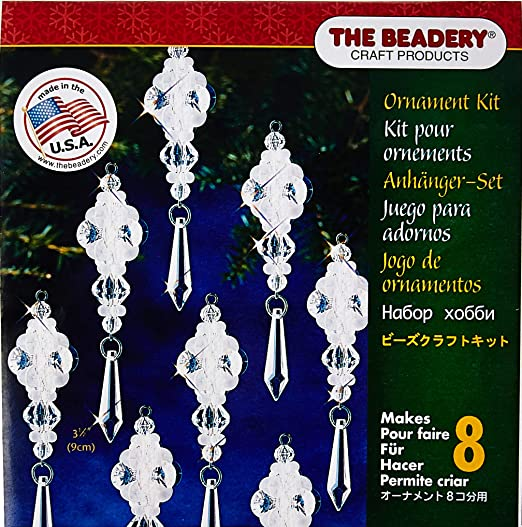 6.5 Makes 8 Beadery Holiday Beaded Ornament Kit Crystal Spirals