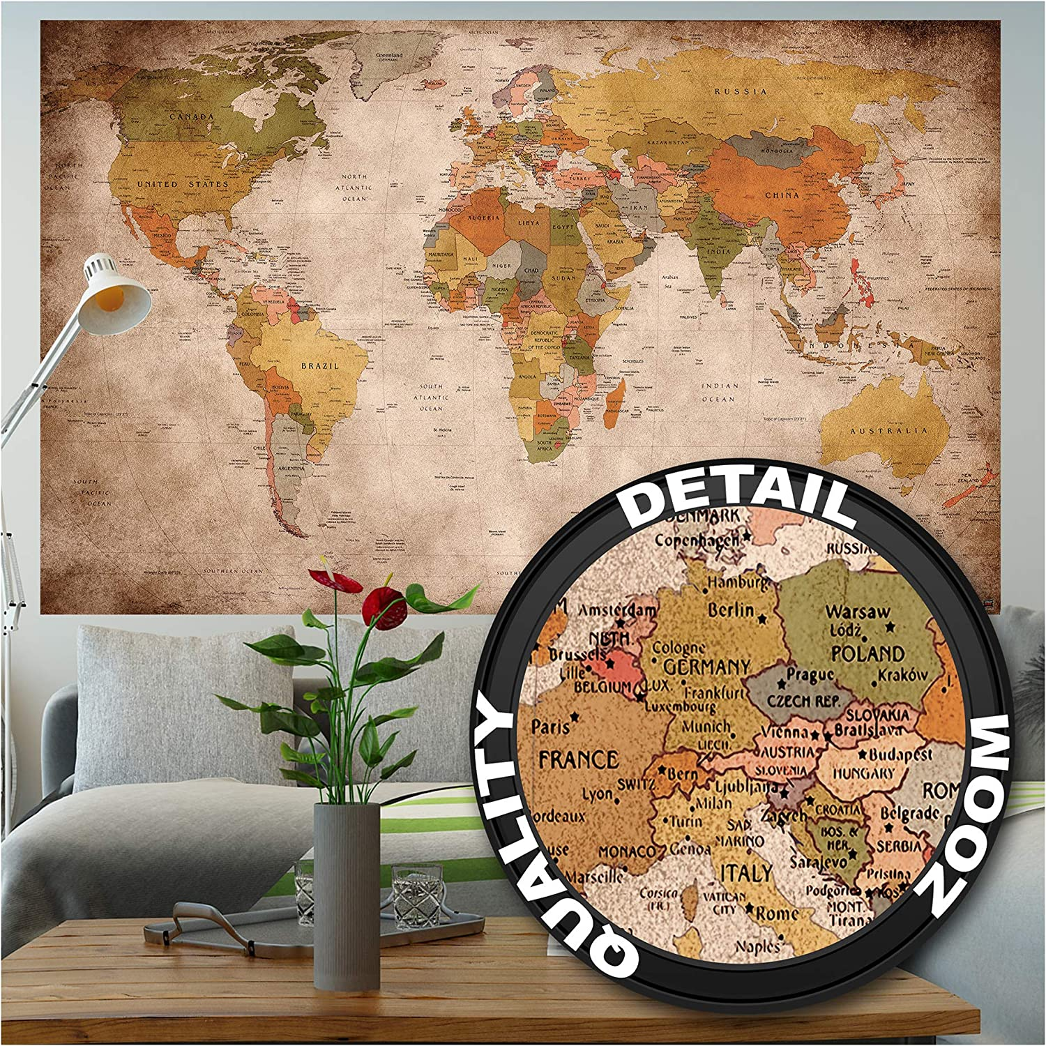 GREAT ART Poster – World Map Retro Look – Picture Continents Atlas Worldmap Earth Geography Atlas Old School Vintage Continent Globe Image Photo Decor Wall Mural (55x39.4in - 140x100cm)