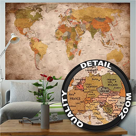 WORLD MAP WALL MURALS WHOLE ROOM OFFICE 4 DESIGNS AVAILABLE FEATURE WALL