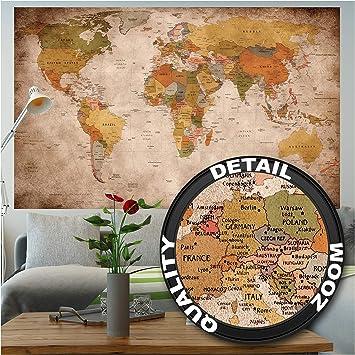 GREAT ART XXL Póster – Retro Mapa del Mundo – Mural Estilo Usado Mundial Continente Atlas Mundial Antiguo Lóbulo Geógrafia Cartel De La Pared Y Decoración Imagen (140 X 100 Cm): Amazon.es: Hogar