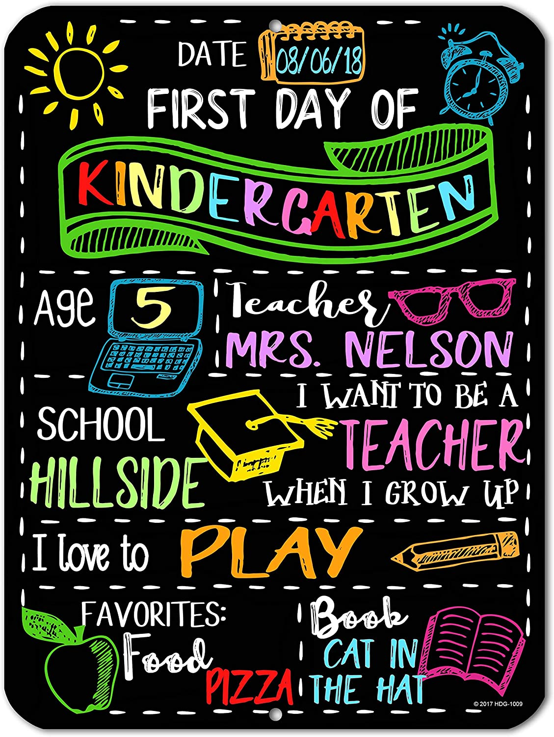 Chalkboard Style First Day of School Photo Prop Tin 9 inch by 12 inch Sign - Reusable Easy Clean Back to School - Customizable with LIQUID CHALK MARKERS (Not Included)