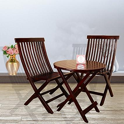 Polish Round Table.Santosha Decor Sheesham Wooden Pu Polish Mahogany Finish 2 Folding Chair And Round Table Red