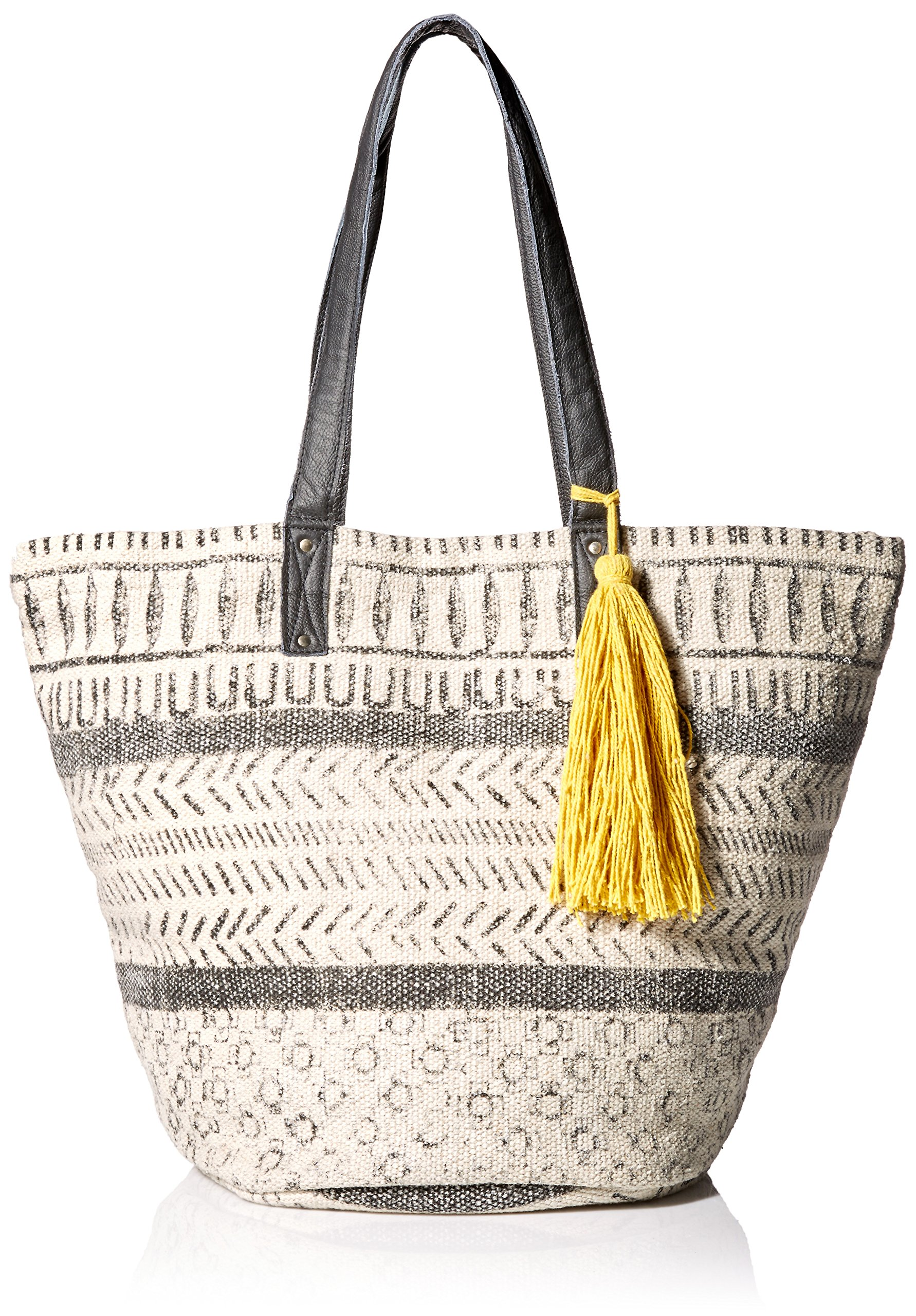 'ale by alessandra Women's Maya Cotton Rug Bag With Leather Handles, Charcoal/Off White, One Size