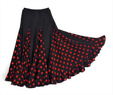 selecte-plus Falda de Flamenco para Mujer, Color Negro con Lunares ...