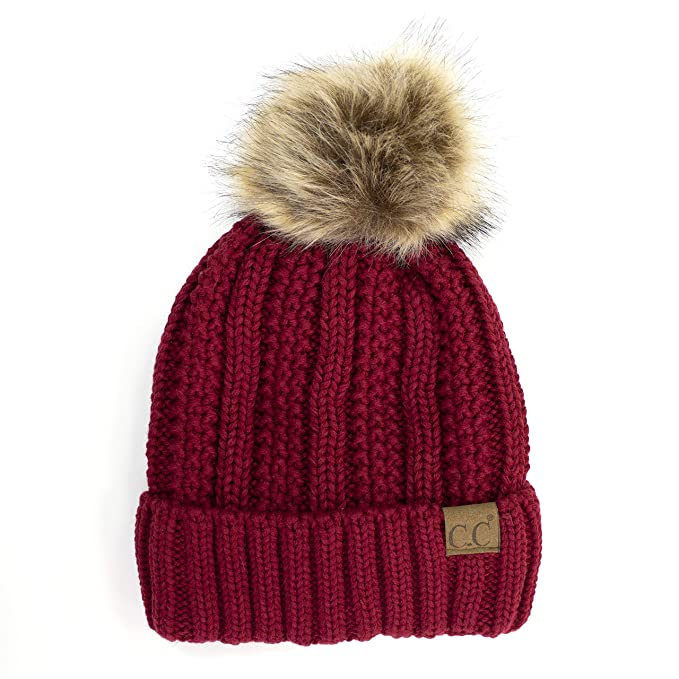 afd23abe0 BYSUMMER CC Cable Knit Beanie with Faux Fur Pom - Warm, Soft, Thick Beanie  Hats for Women & Men (Burgundy)
