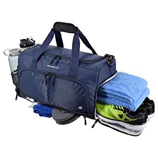 """Ultimate Gym Bag 2.0: The Durable Crowdsource Designed Duffel Bag with 10 Optimal Compartments Including Water Resistant Pouch (Blue, Medium (20""""))"""