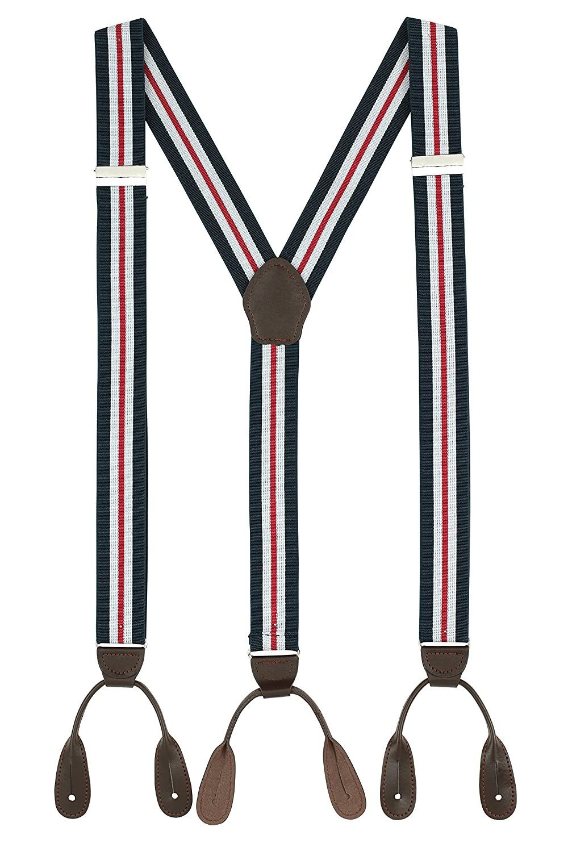 Suspenders for Men Leather Button End Elastic Tuxedo Y Back Mens Suspenders Pant Braces Y Back Design - (Black)