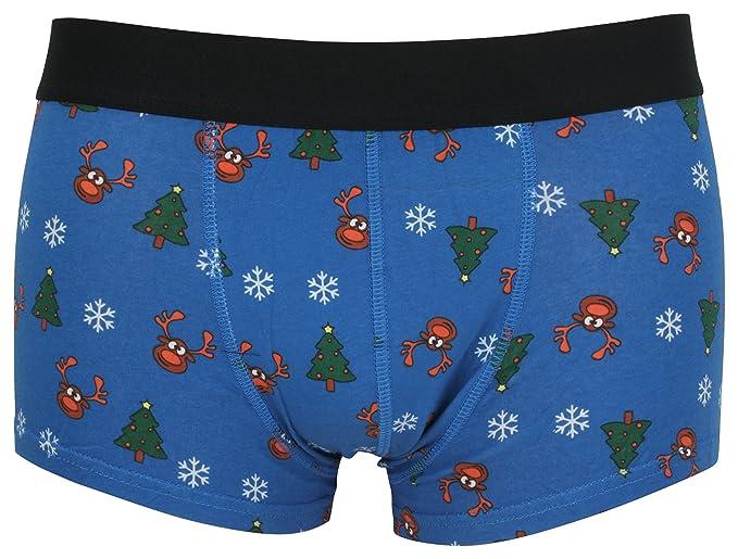 Tom Franks Hombre Regalo Navidad Hipster Calzoncillos Boxers - Azul Rudolph, Small