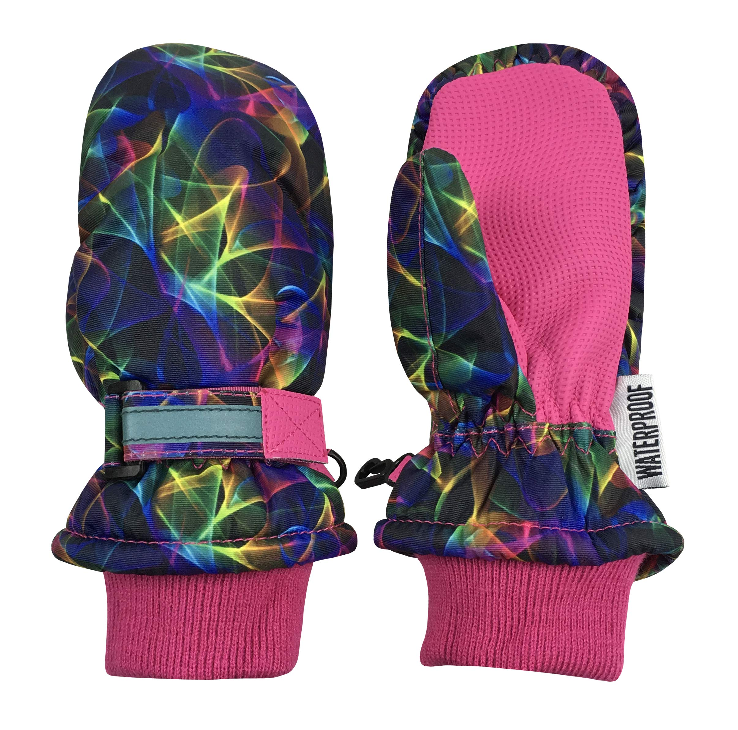 N'Ice Caps Kids Thinsulate Waterproof Reflector Winter Snow Ski Mittens (Fuchsia Multi Laser, 4-5 Years)