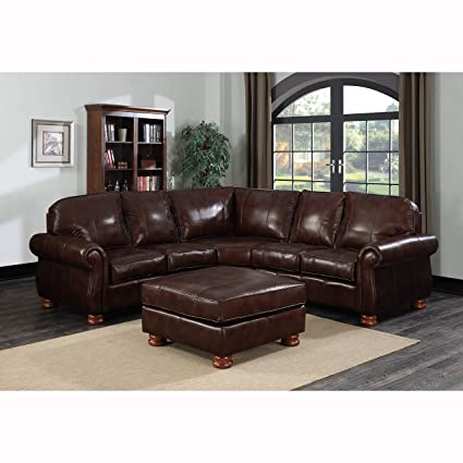 Amazon.com: Sofaweb.com Melrose Dark Brown Italian Leather 4 ...