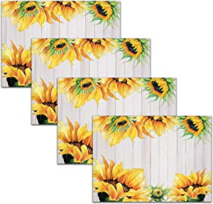 Blissful Living Set of 4 Placemats, Heat and Stain Resistant - Decorate Your Kitchen Table with Our Beautiful Rectangle pad placemat (Barnwood Sunflower)