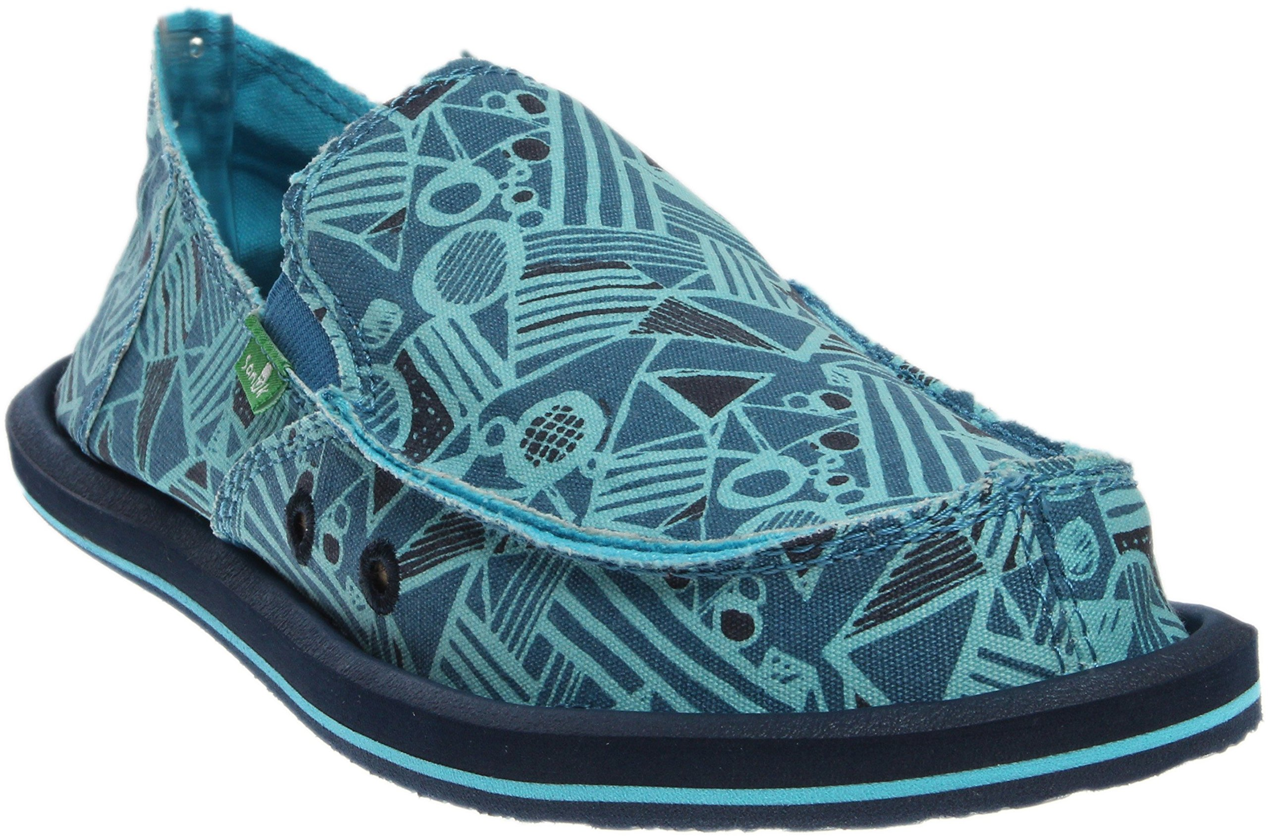Sanuk Kids Boys' Lil Donny Funk Slip On (Toddler/Little Kid/Big Kid), Blue Crazy Shapes, 4 M US Big Kid