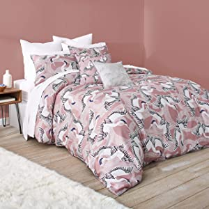 Ted Baker Crane Cotton 3 Piece Duvet Set with Shams, Full/Queen, Pink