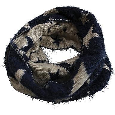 FERETI Souple écharpe Avec étoiles Bleu Beige Etole Tube Circulaire Foulard  Tricot Ronde Snood 5c55b20ff66