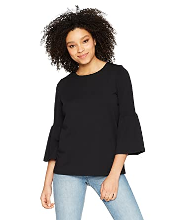 93a72f06199a1 kensie Women's Stretchy Crepe Bell Sleeve Top at Amazon Women's ...