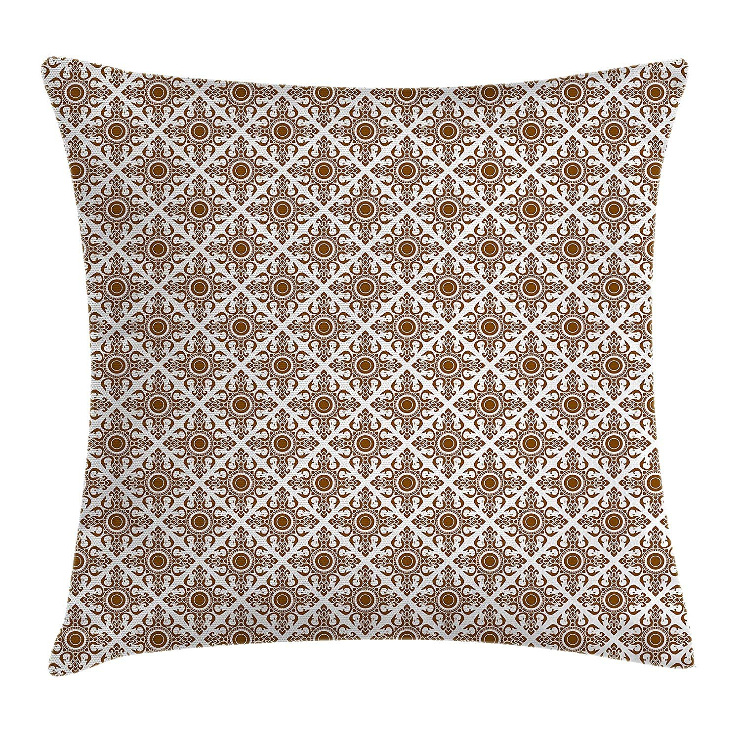 Queen Area Ethnic Thai Mosaic Culture Stylized Abstract Lines Dots Pattern Folk Asian Design Square Throw Pillow Covers Cushion Case for Sofa Bedroom Car 18x18 Inch, Redwood White by Queen Area