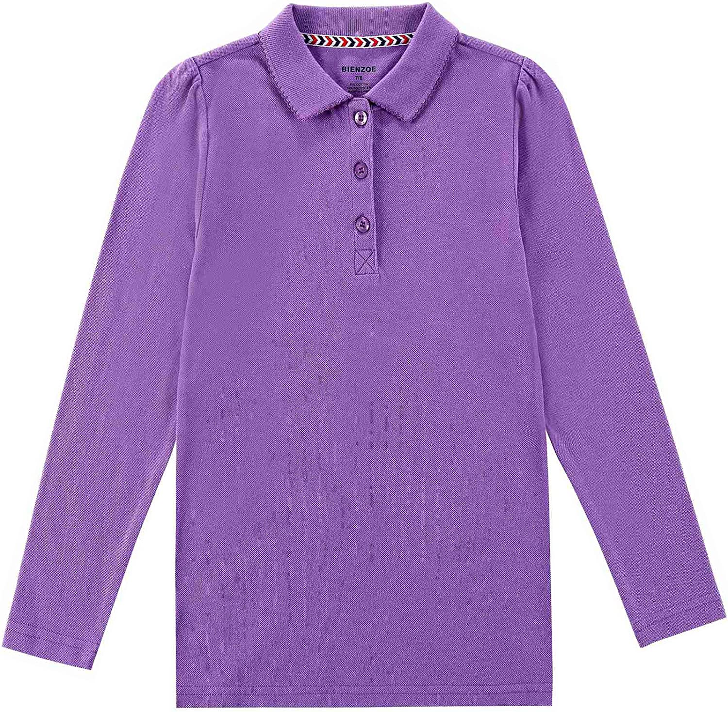 Bienzoe Girls Breathable Quick Dry Long Sleeve Polo