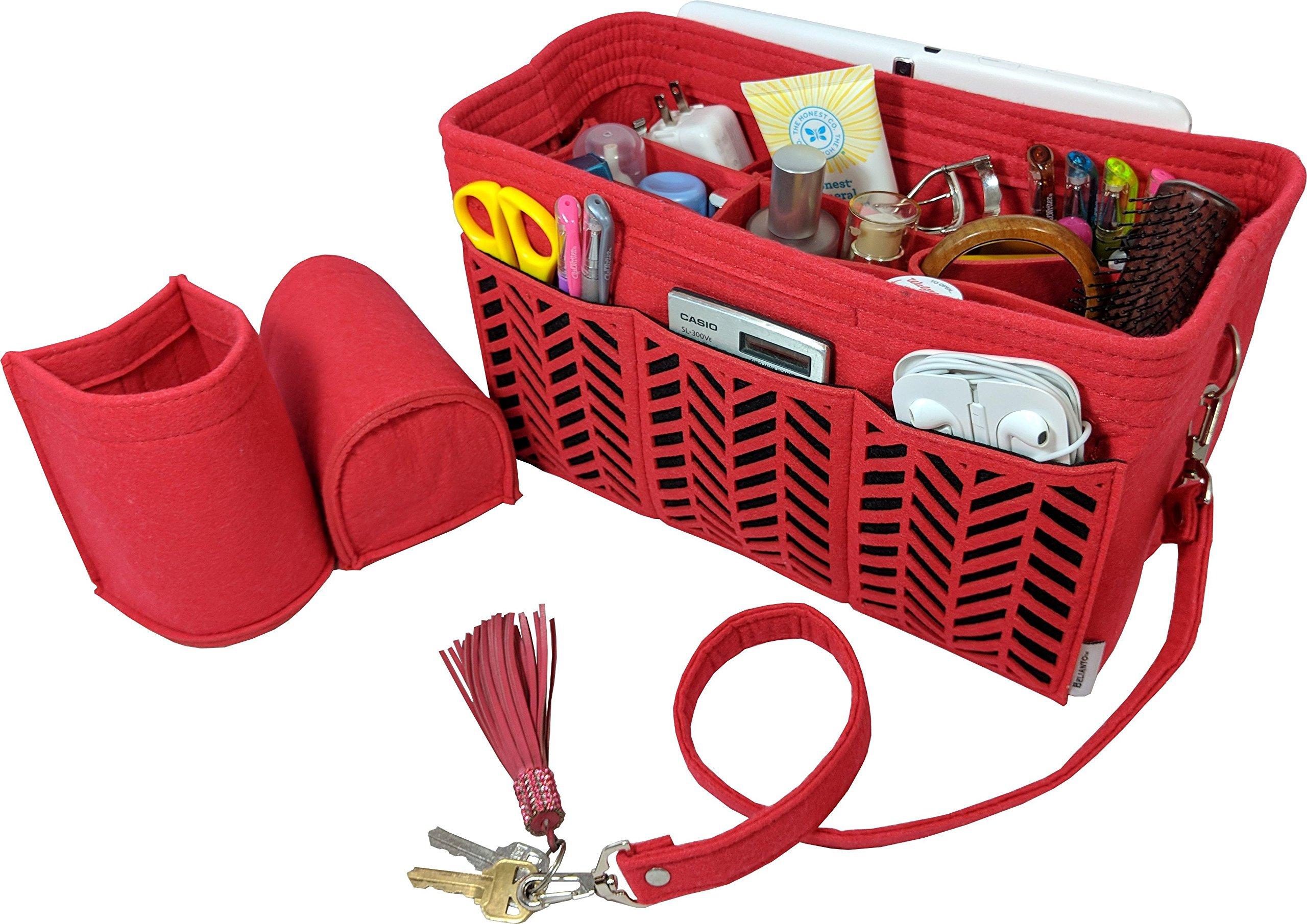 BELIANTO Felt Handbag Tote Purse Organizer Insert with Middle Insert, Bottle Holders, Key finder, D rings (Herringbone Pattern) (Large, Red)