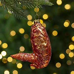 Northlight Brown Buffalo Chicken Wing Embellished with Glitter Glass Christmas Ornament 4.5